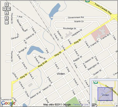 Map of Virden, Manitoba, Canada